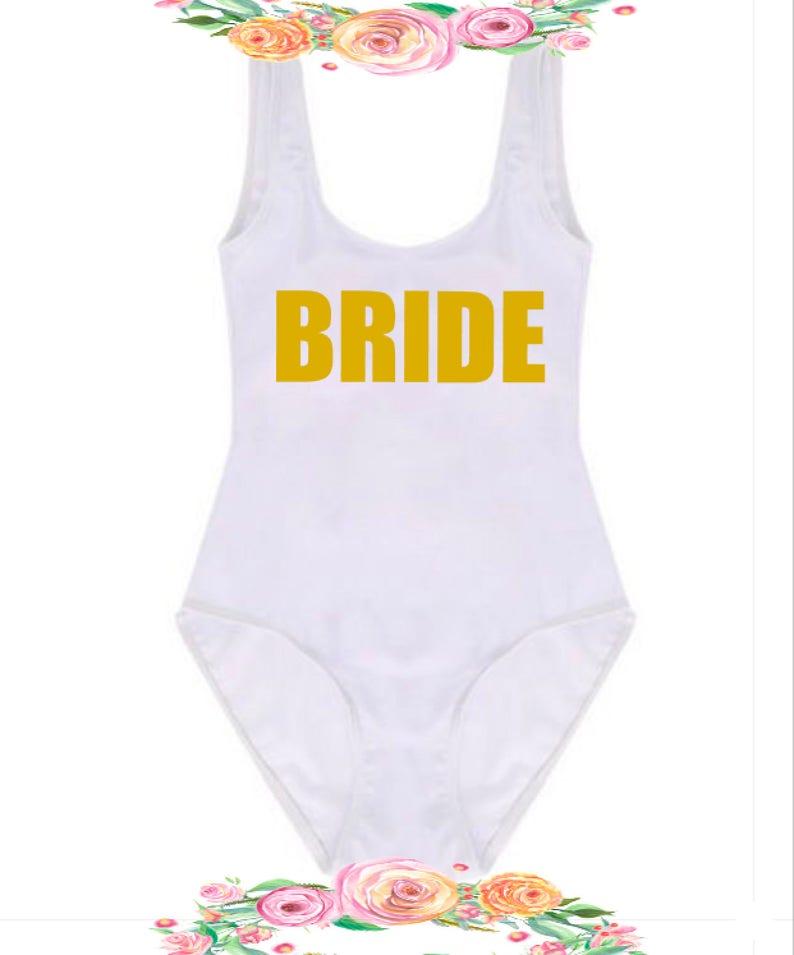 e95d3a3c57b Bachelorette Bathing Suit. Bride Tribe Swimwear. Bride Bathing | Etsy