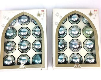 2 Boxes Vintage MCM Delta Silver Blue Mercury Glass 24 Ball Christmas Tree Ornaments