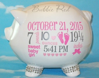 Personalized Piggy Bank, Custom Piggy Bank, Baby Birth Stats Gift, Baby Girl Piggy Bank, Baby Girl Gift, Piggy Bank,  Baby Gift, Baby Bank