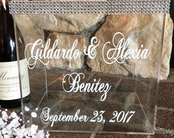 Bling Wedding Card Box, Personalized Money Box, Wedding Gift Card Box, Wedding Card Box, Wedding Money Box, Wedding Card Holder