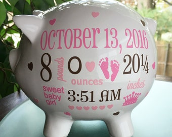 Personalized Piggy Bank, Custom Piggy Bank,  Baby Girl Piggy Bank, Baby Girl Gift, Piggy Bank,  New Baby Girl Gift, Baby Bank