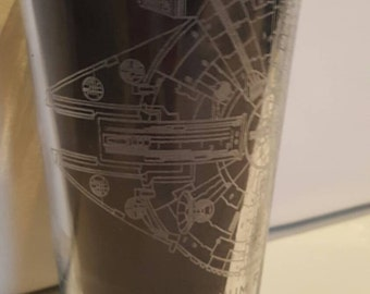 Star Wars - Millenium Falcon Drawings - Laser Etched Pint Glass