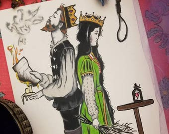 The Black Haired Queen - Fairytale Art Print - Dark Fantasy, Gothic, King, Mystical, Medieval Times, Tragic, Romantic
