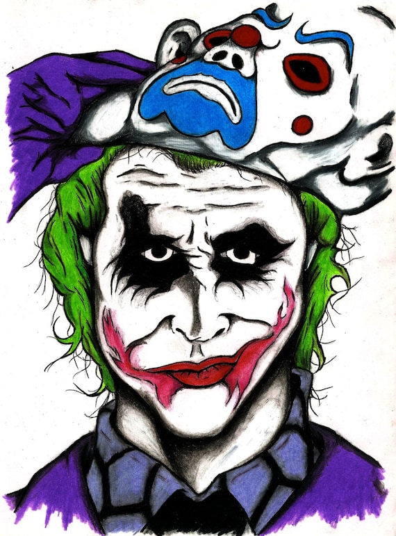 The Joker The Dark Knight Movie Character Print Wall Art Tattoo Art Print New Orleans Artist Villain Cool Birthday Purple Green
