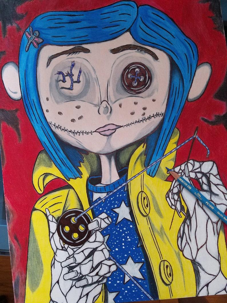 LITTLE ME - CORALINE - Movie Character Art Print - Art For Kids, Kids Art,  Children's Art, Dark Fantasy, Nursery Room, Wall Art, Poster