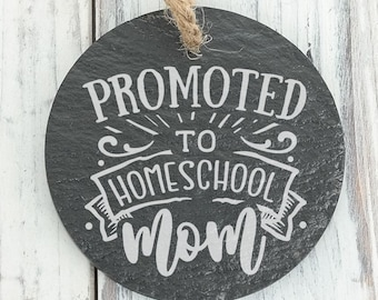 Promoted to Homeschool Mom 2020 E Learning Personalized Engraved Slate Ornament Back can be personalized