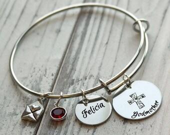 Godmother Personalized Adjustable Wire Bangle Bracelet