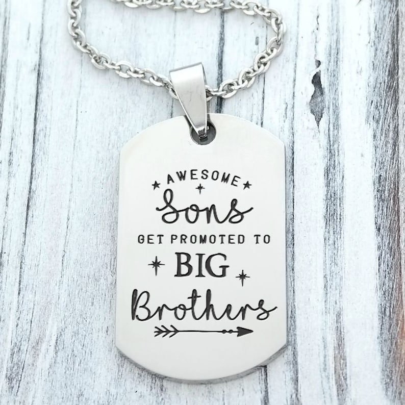 Promoted to Big Brother Personalized Engraved Dog Tag Necklace