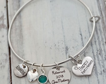 Happy Retirement Heart Wire Adjustable Bangle Bracelet