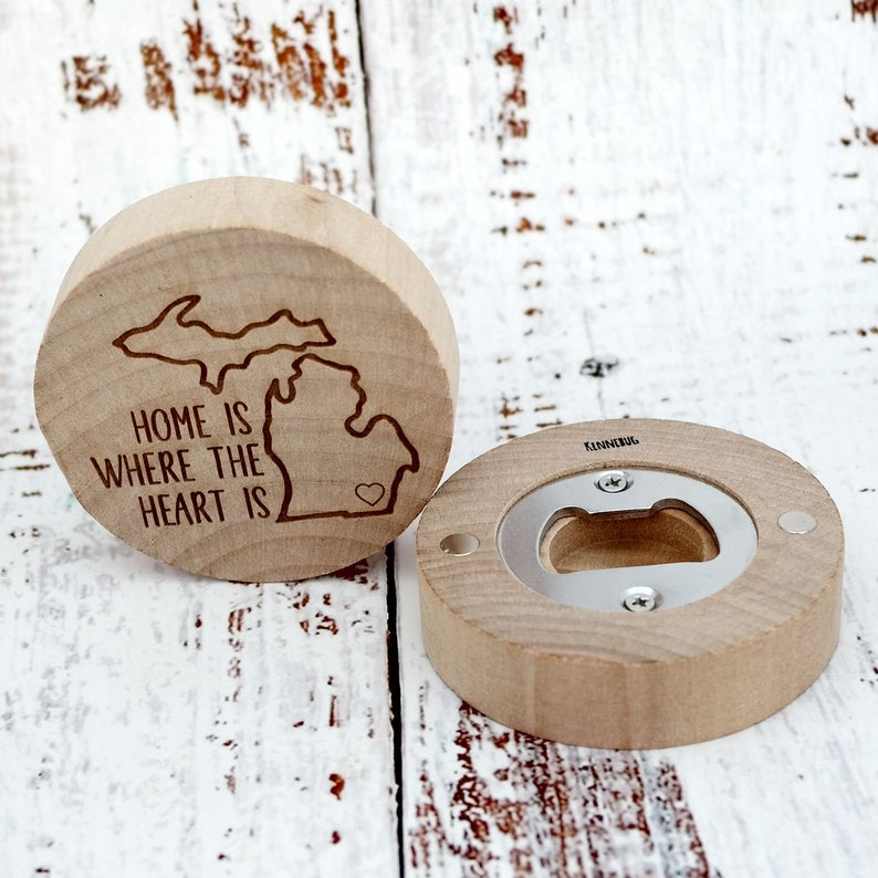 Home is Where Heart is Michigan Personalized Custom Engraved Wooden Bottle Opener Magnet