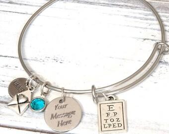 Optometrist Eye Doctor Gift Wire Adjustable Bangle Bracelet