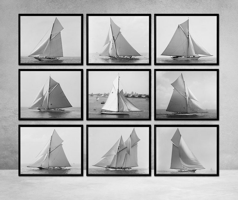 9 Vintage Sailboat Prints Nautical Home Decor Sailing Yacht Photos Size 11x14 Inch All 9 Sailboat Racing Vessels For One Low Price