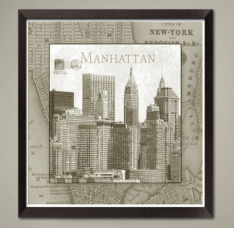 Map Of New York City In 1800.New York City Skyline Art Print Home Or Office Decor Vintage Nyc Map Border Size 11x11 Inch No 2 Of 4 Buy Any 3 Get 1 Free