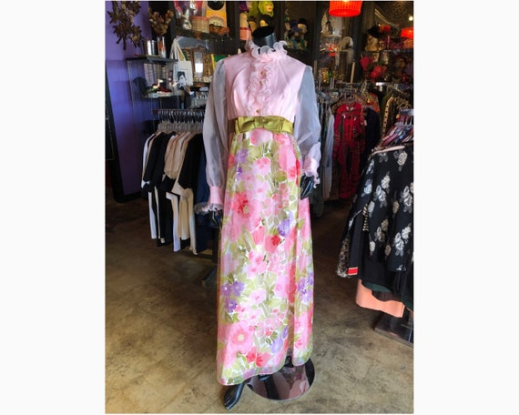 70s Pink Ruffle Floral Prairie Dress
