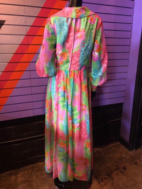 Vintage 70s Dress - Sheer Colorful Floral Dress /… - image 3