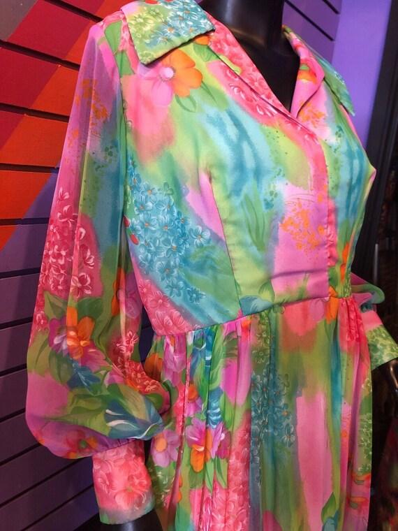 Vintage 70s Dress - Sheer Colorful Floral Dress /… - image 4