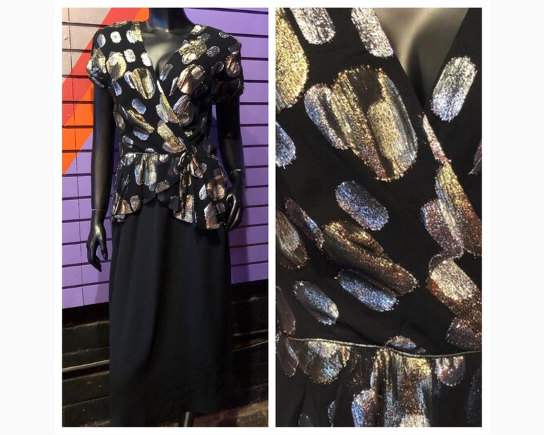 Vintage 70s Dress NuMode Silver and Gold Disco Dress