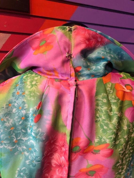 Vintage 70s Dress - Sheer Colorful Floral Dress /… - image 5