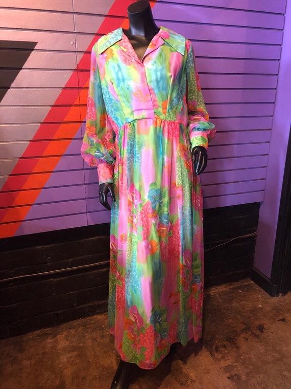 Vintage 70s Dress - Sheer Colorful Floral Dress /… - image 2