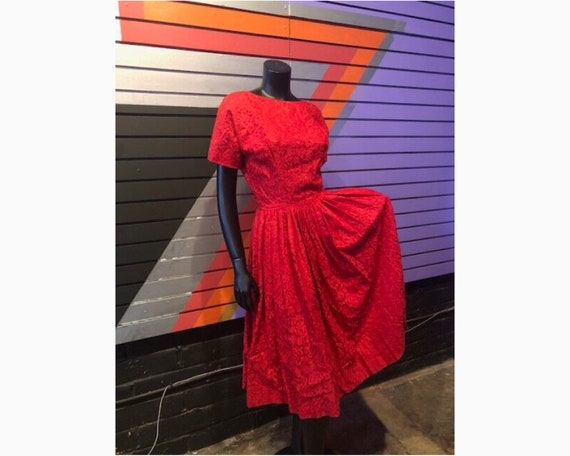50s Vintage Red Lace Full Skirt Dress
