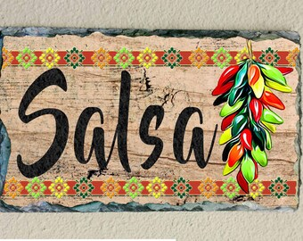 Salsa Chili Pepper, Southwest, Slate Plaque, Kitchen Decor, Southwest Decor,  Mexican Decor, Orange, Green, Brown