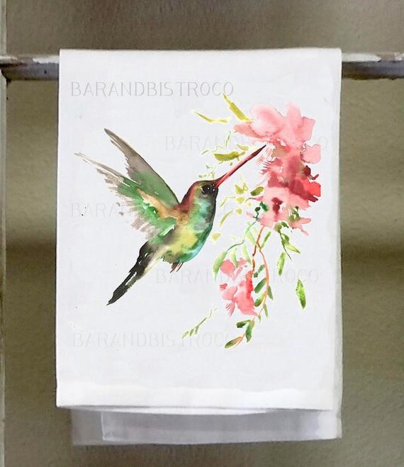 Kitchen//Bath Hand Towel Hummingbirds Print Hostess Gift Dish Towel Floral Kitchen Decor