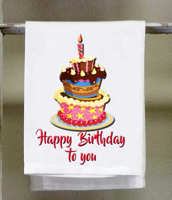 Phenomenal Happy Birthday To You Birthday Cake Funny Kitchen Towel Etsy Personalised Birthday Cards Bromeletsinfo