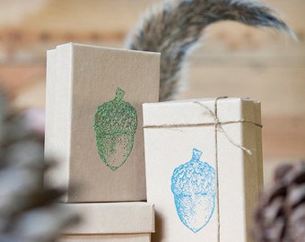Cute Hand Stamped Acorn Gift Box | eco friendly, reuse recycled recycle, lime green • turquoise blue aqua • shimmering purple • gold copper