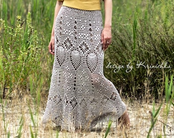 Crochet maxi skirt PATTERN for sizes S-5XL, Boho crochet skirt tutorial, pattern crochet bohemian maxi skirt, pattern crochet cotton skirt