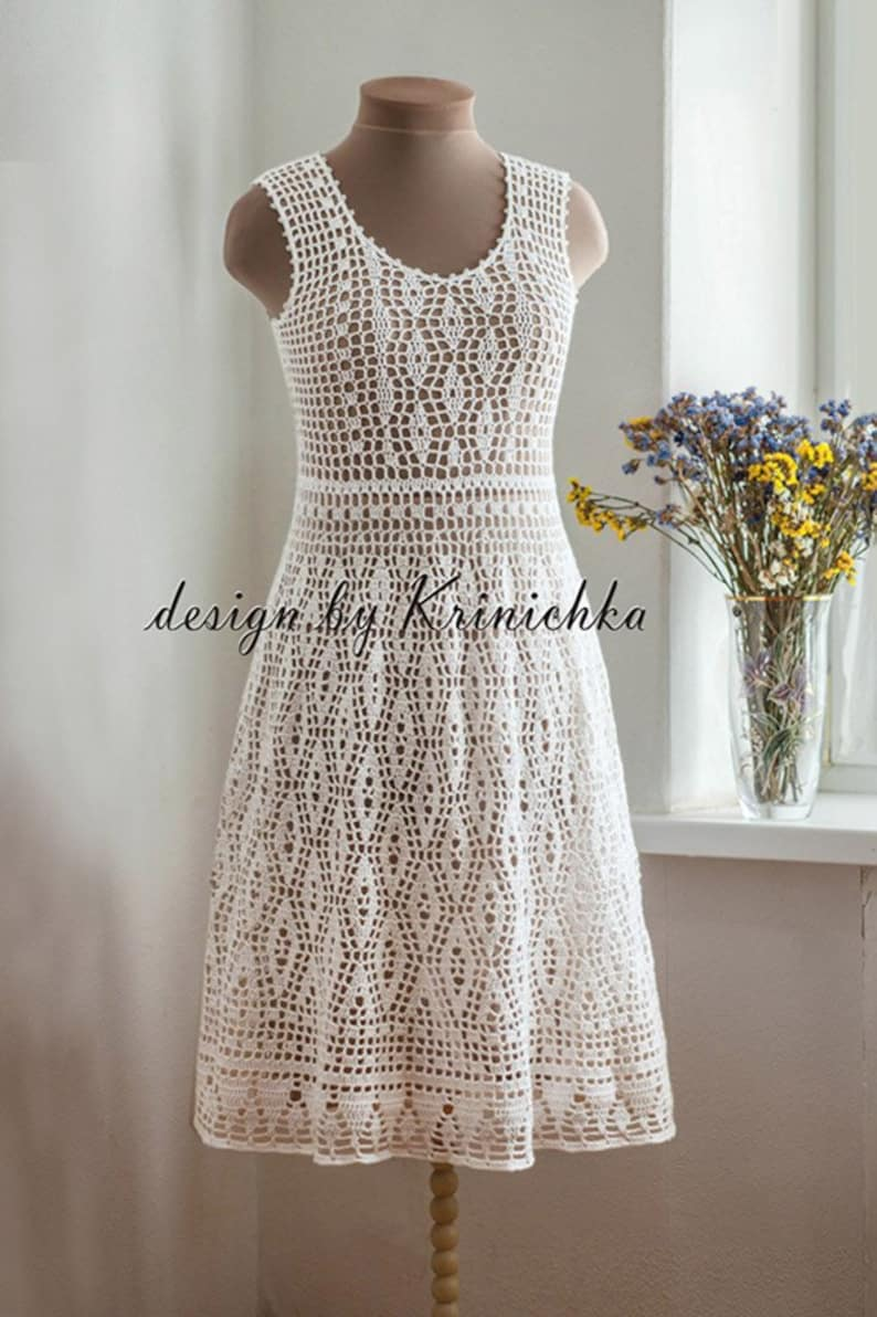 Crochet Wedding Dress Pattern In English And In Russian Boho Etsy