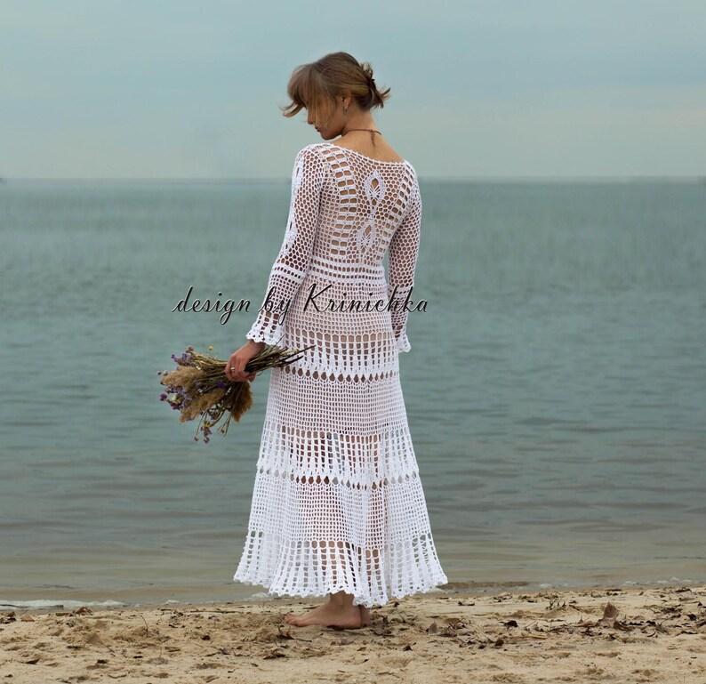 d8b63cc5a55b Boho wedding dress long sleeves rustic crochet bridal dress | Etsy