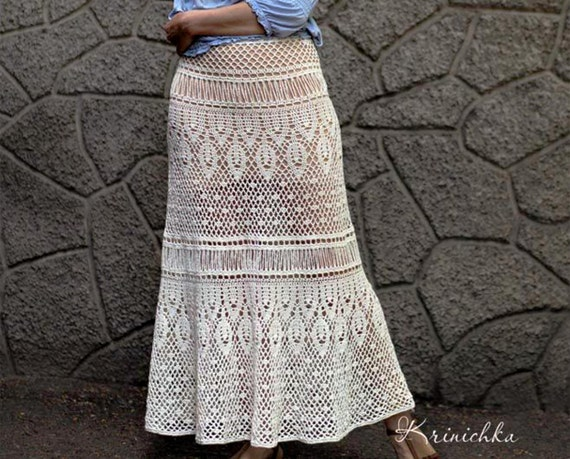 Crochet Maxi Skirt Pattern For Sizes S 5xl Boho Crochet Skirt