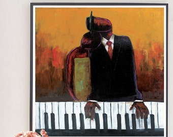 Music Lovers |African American art, black art prints, home decor, wall art, art prints, jazz print, jazz art, music lovers art, music lover