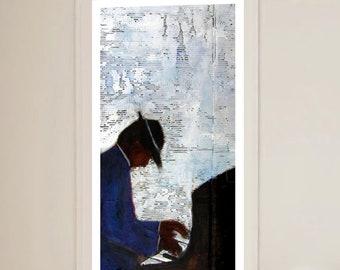 Key Figure| African American art| black art prints| home decor|wall art|black art|art prints|Jazz art|piano art| jazz print| piano man