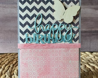 Chevron Happy Birthday Butterfly Handmade Card