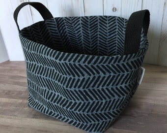 Denim Herringbone Large Fabric Baskety Bin-MADE TO ORDER