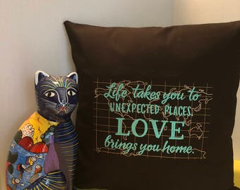Beautiful Machine Embroidered Pillow Cover