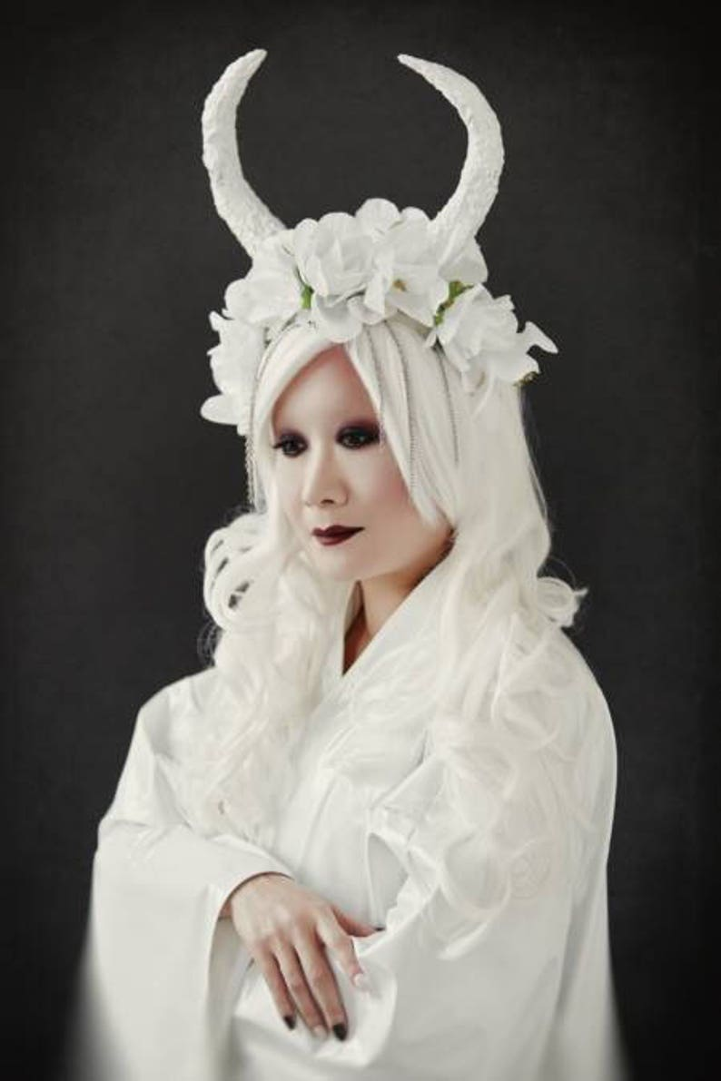 Silver Horned Succubus Headband Womens Flowers Fairy Demon Costume Accessory