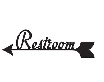 bathroom sign with arrow wall mounted more colors restroom sign left arrow arrow sign etsy