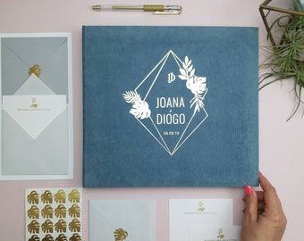 Geometric tropic Wedding Envelope guest book with wishes and advice cards for instax pictures Orginal Guest book ideas Wedding Advice book