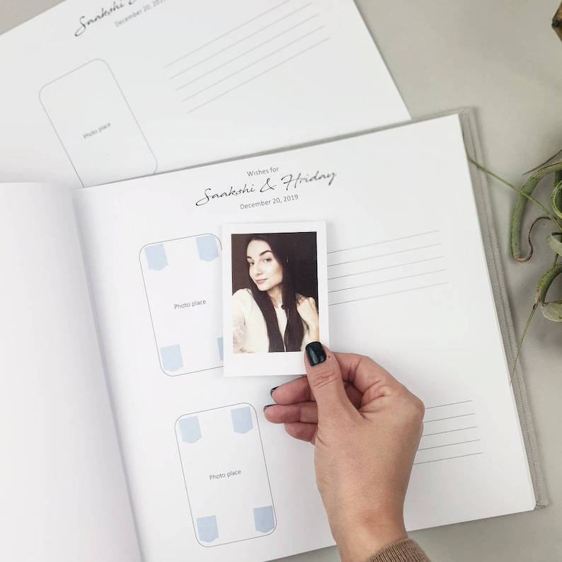 Wedding Album with White Lettering Photo boot album instax Wedding book Personalized Photo Guest book