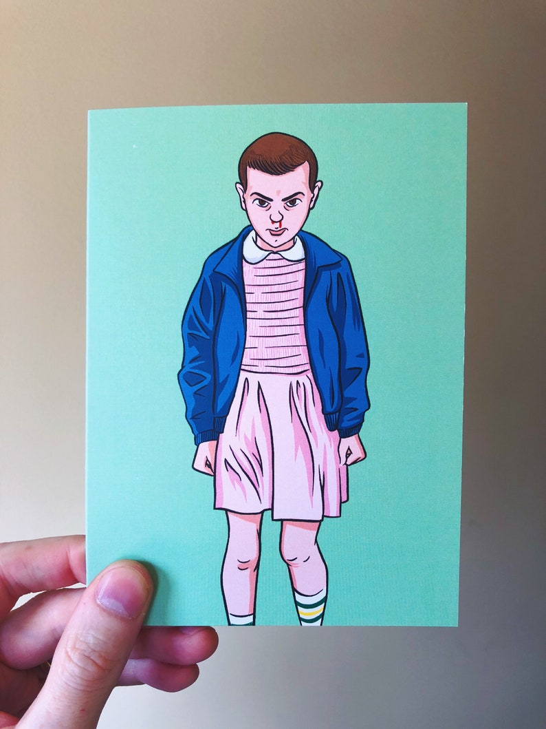 Stranger Things Eleven  Art Print Greeting Card by Nick Lacke image 0