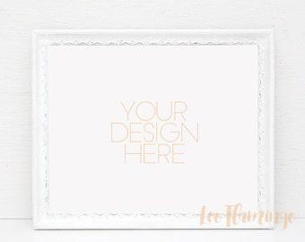 Download Free White Frame mockup, Horizontal mockup, Antique Vintage mock up, Blank frame mockup, Empty photo frame Mock Up, Picture frame template PSD Template