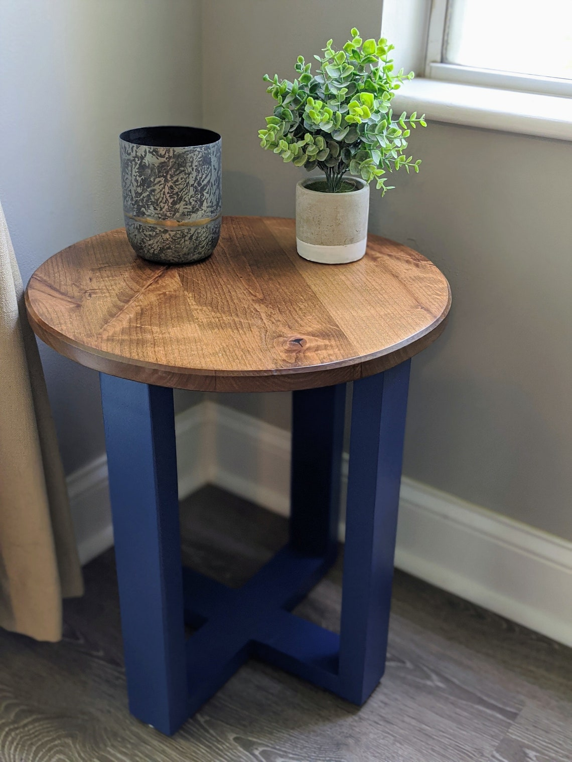 Handmade Two-Tone Rustic Side Table. Geometric Modern Side Table with Round Table Top. Farmhouse Decor. Rustic Home Decor & Rustic Furniture