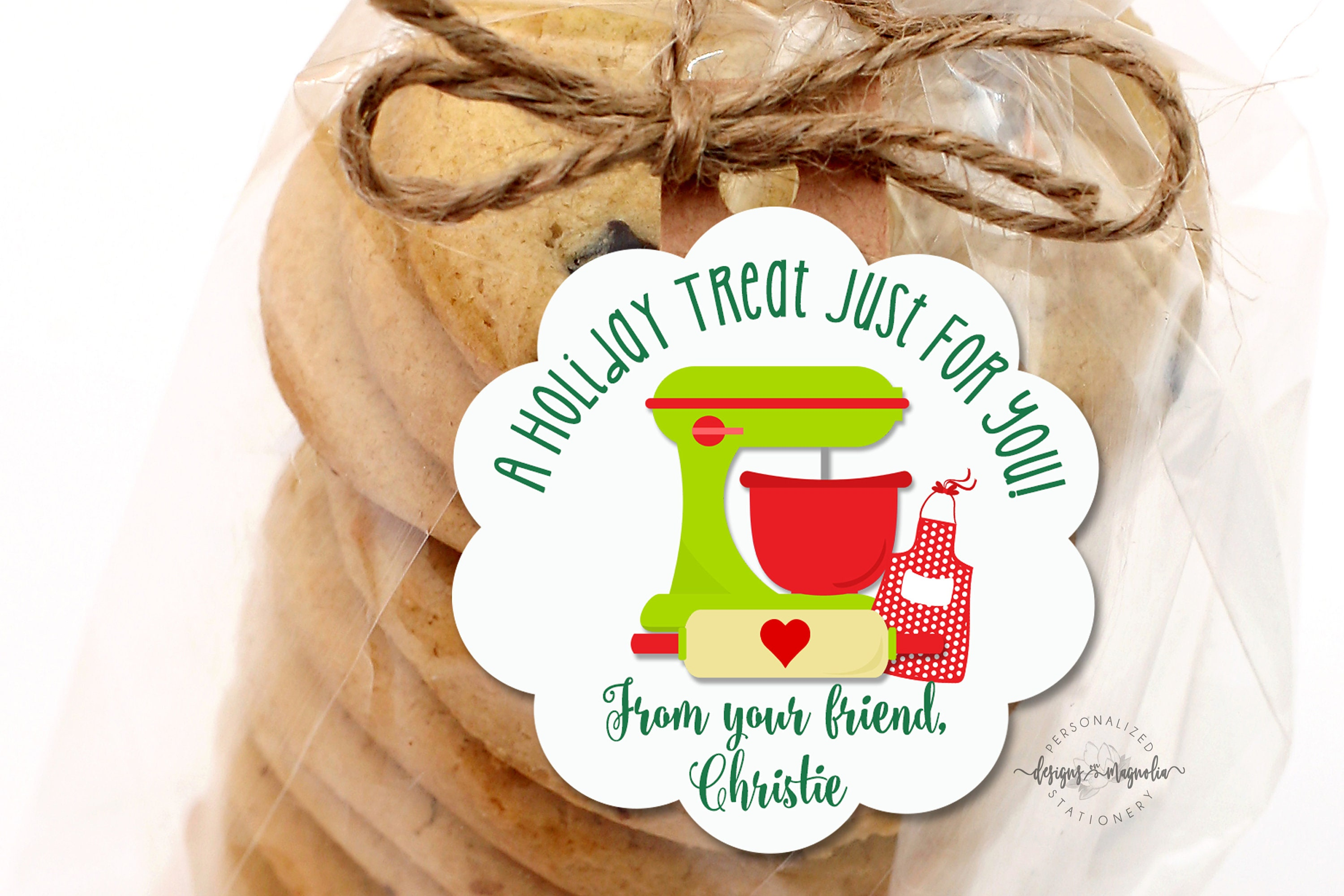 Christmas baking gift sticker holiday label personalized stationery from the kitchen of label baked goods tag cookie label