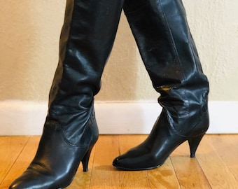 c2158b2475f3 Vintage 80 s Leather Tall Heeled Boots Women s Size 6.5 M