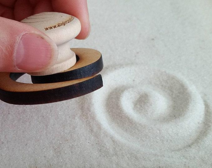 Zen Garden Stamp, Fibonacci Swirl Design, Sand Stamp