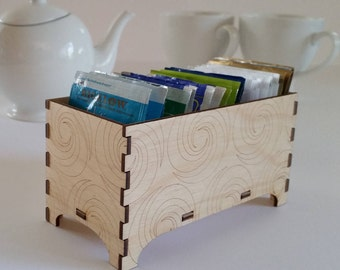 Decorative Tea Box, Triple Fibonacci Swirl Design,  Hostess Gift