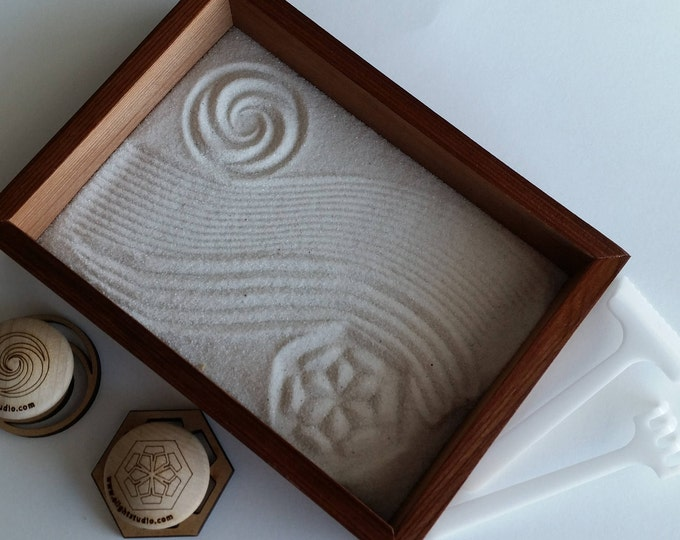 Zen Garden MINI, with unique sand stamps and rakes