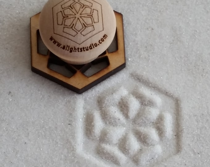 MINI Sand Stamp, Floral Hexagon Design, Zen Garden Stamp